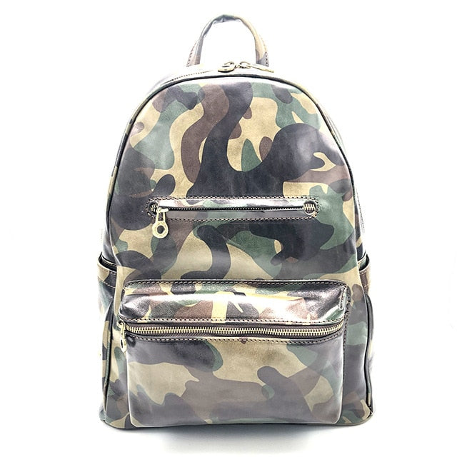 Funky Camouflage backpack bag,Genuine Italian cowhide