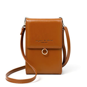 Ladies tan mini messenger bag shoulder or cross body bag