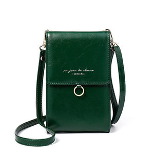 Ladies green mini messenger bag shoulder or cross body bag
