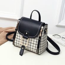 Load image into Gallery viewer, Ladies Stylish Backpack Bags with White flap and strap with rectangular patchwork pattern print