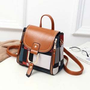 Ladies Stylish Backpack Bags with White flap and strap with rectangular patchwork pattern print