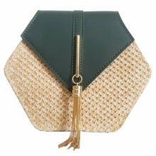 Load image into Gallery viewer, VIP Hexagon Multi Style Straw and leather Ladies Handbag