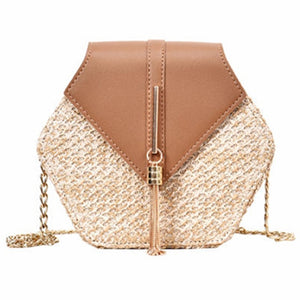 VIP Hexagon Multi Style Straw and leather Ladies Handbag