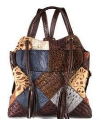 Vintage Bohemian Luxury Floral Crossbody Ladies bag with Tassels, Backpack and Half shell option