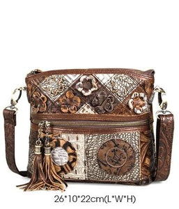 Vintage Bohemian Luxury Floral Crossbody Ladies bag with Tassels