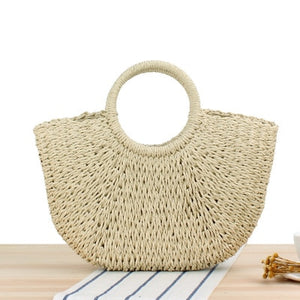 Bohemian Vintage Round Handmade Woven Bag - Raffia circle Rattan look and other shapes
