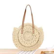 Load image into Gallery viewer, Bohemian Vintage Round Handmade Woven Bag - Raffia circle Rattan look and other shapes