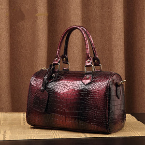Boston Bag Luxury Ladies Crocodile Pattern Hand Bag
