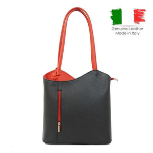 High Street Ladies's Soft Leather Tote Shoulder Bag With Panelled Hit Color, Made in Italy