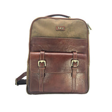 Load image into Gallery viewer, Genuine leather and Canvas and Top Men's Backpack Coffee / Brown 112240 made in Italy,