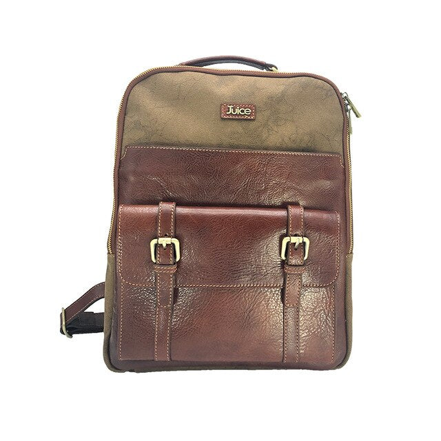 Genuine leather and Canvas and Top Men's Backpack Coffee / Brown 112240 made in Italy,
