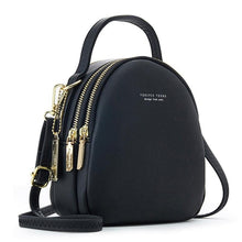 Load image into Gallery viewer, Black High Street 3 Layer Ladies Mini Backpack with Shoulder or Crossbody Strap -  see other colours