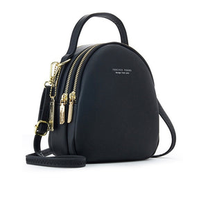 Black High Street 3 Layer Ladies Mini Backpack with Shoulder or Crossbody Strap -  see other colours
