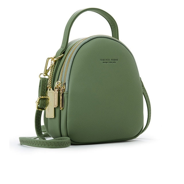 Sage Green High Street 3 Layer Ladies Mini Backpack with Shoulder or Crossbody Strap -  see other colours