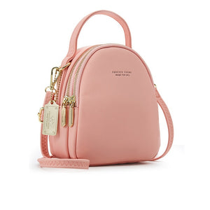 Light Blue Pink High Street 3 Layer Ladies Mini Backpack with Shoulder or Crossbody Strap -  see other colours