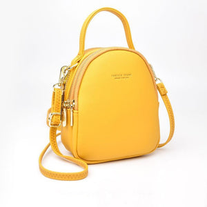 Yellow High Street 3 Layer Ladies Mini Backpack with Shoulder or Crossbody Strap -  see other colours