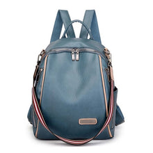 Load image into Gallery viewer, Sea blue backpack with peach trim