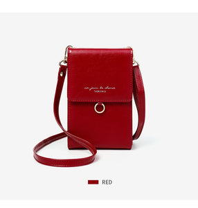 Ladies red mini messenger bag shoulder or cross body bag