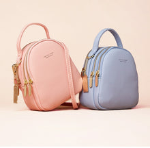 Load image into Gallery viewer, Light Blue Pink High Street 3 Layer Ladies Mini Backpack with Shoulder or Crossbody Strap -  see other colours