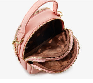 Dark Pink High Street 3 Layer Ladies Mini Backpack with Shoulder or Crossbody Strap -  see other colours