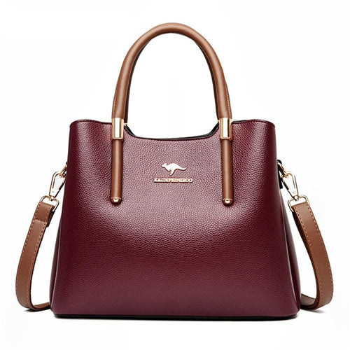 Beautiful faux leather tote handbag in burgundy