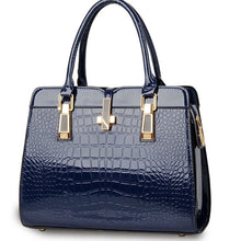 Load image into Gallery viewer, Navy blue ladies hand bag european style with crocodile pattern
