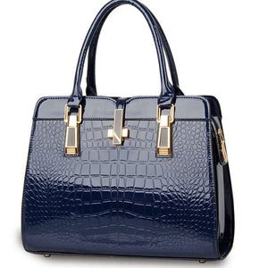 Navy blue ladies hand bag european style with crocodile pattern