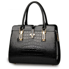 Load image into Gallery viewer, Black ladies hand bag european style with crocodile pattern