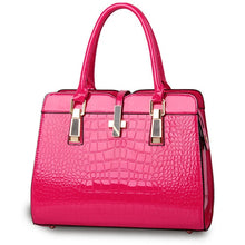 Load image into Gallery viewer, Hot pink ladies hand bag european style with crocodile pattern