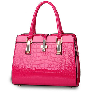 Hot pink ladies hand bag european style with crocodile pattern
