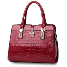 Load image into Gallery viewer, Burgundy ladies hand bag european style with crocodile pattern