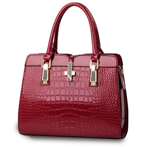 Burgundy ladies hand bag european style with crocodile pattern