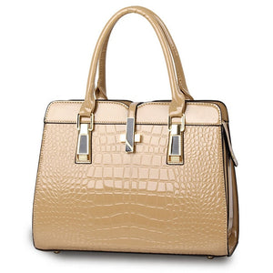 Beige ladies hand bag european style with crocodile pattern