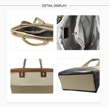 Load image into Gallery viewer, Grey and Black Genuine leather Ladies large Tote bags, Made in Italy
