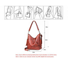 Load image into Gallery viewer, Brown Bucket Shoulder and Cross Body Bag with Vintage Soft Patchwork Pattern - Hobo Style