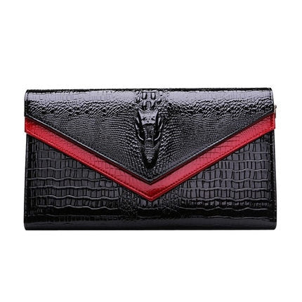 Black with Red Trim Genuine Leather Ladies Crocodile Look Clutch Bag