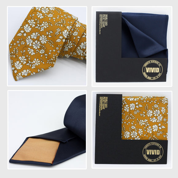 mustard yellow and navy blue neck ties and pocket squares for the wedding color trends 2021 handmade in Toronto