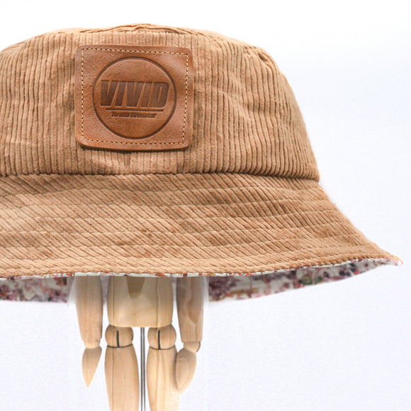 Fall / Winter Bucket Hat - Rose Tan Corduroy, Liberty London Floral Brim on the Reverse, Logo Patch, Jumbo Cord, Tawny Birch, Sheepskin, sandstone peach -Limited Edition