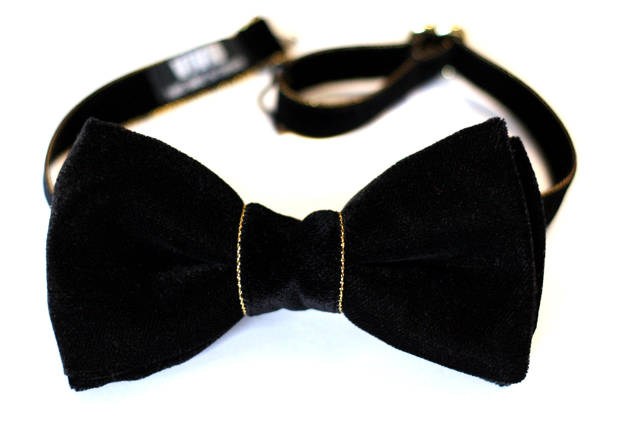 Wedding Bow Tie Black Tie Event Black and Gold Bow Tie Black Velvet Bow Tie Groomsmen Bow Ties