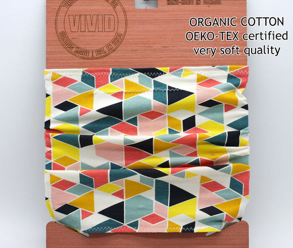 bright geometric pattern organic cotton neck gaiter