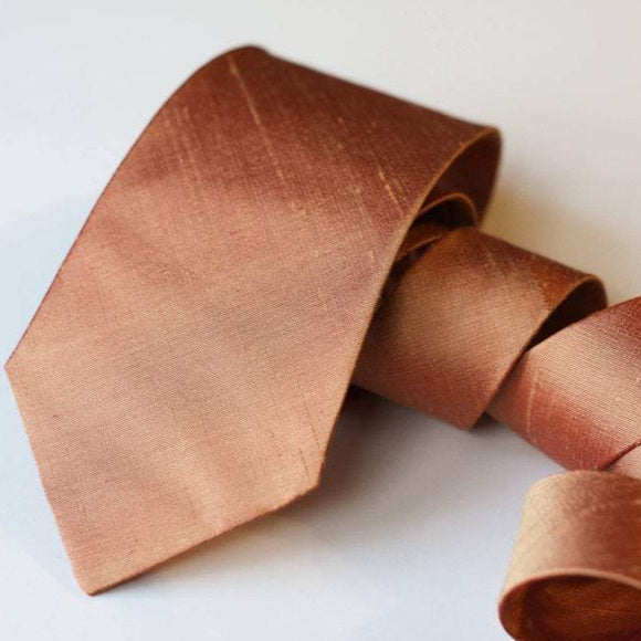 Copper raw silk neck tie copper weding rose gold copper