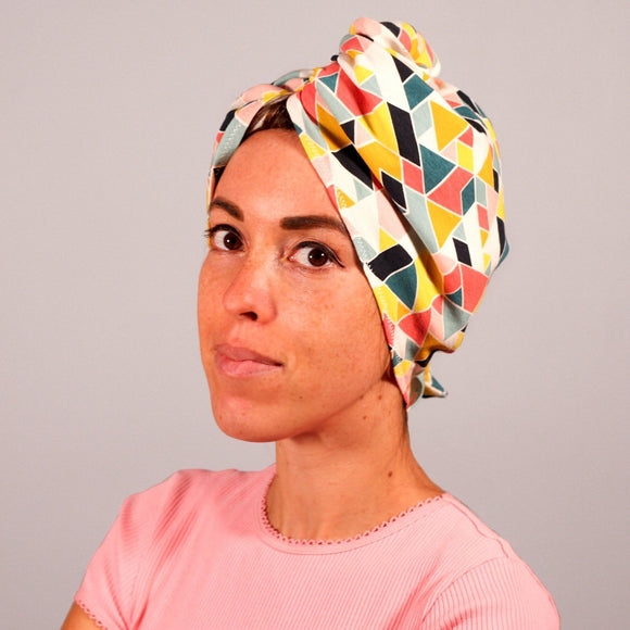 Organic cotton tshirt hair towel wrap bathing towel geometric bright golden sky toronto