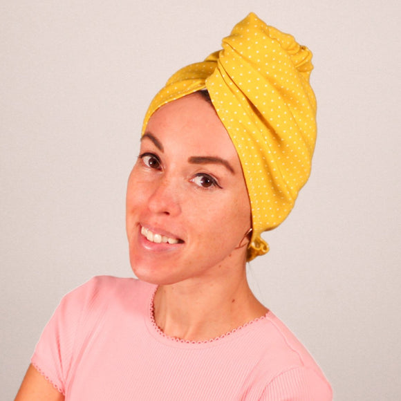 Organic cotton hair towel wrap turban golden sky toronto mustard yellow polka dot