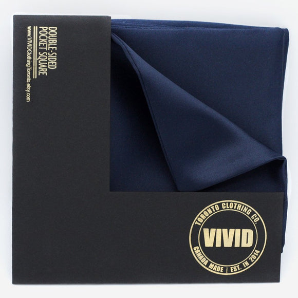 navy blue rich royal blue italian satin pocket square classic width vivid clothing toronto