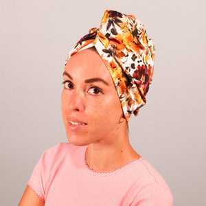 Organic cotton hair towel wrap turban golden sky toronto burgundy floral mustard yellow