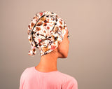 Organic cotton hair towel wrap turban golden sky toronto pastel rose gold dusty rose copper floral on white