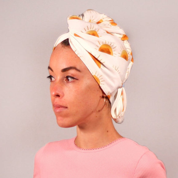 Organic cotton hair towel wrap turban golden sky toronto sunset sun white yellow orange