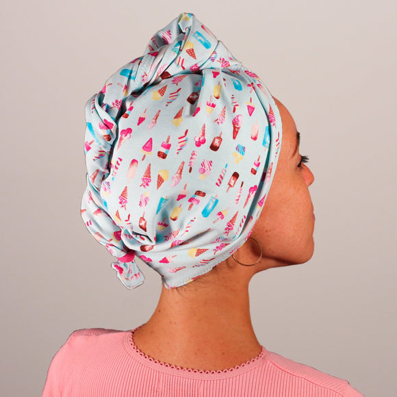 Organic cotton hair towel wrap turban golden sky toronto ice cream sky blue hot pink