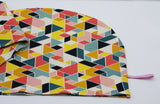T-Shirt Hair Towel Wrap - ORGANIC COTTON - Bright Geometric Pattern - Hair Towel Turban, Hair Drying Towel, Hair Care, Handmade
