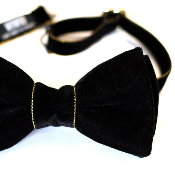 black gold velvet bow tie wedding